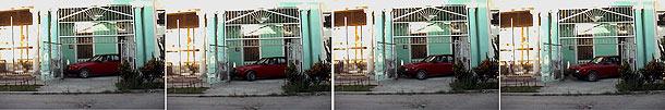 """Ernesto Oroza.""""Parqueo"""" Fotografía fija de video de automóvil saliendo durante 8 minutos de un parqueo improvisado. 2004"""
